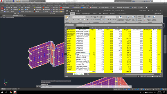 For Cad formworks software bill of material