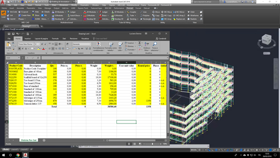 pon cad calculation scaffolding list of material